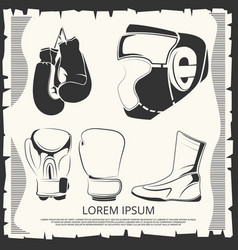 Sport poster with boxing helmet gloves and shoes vector