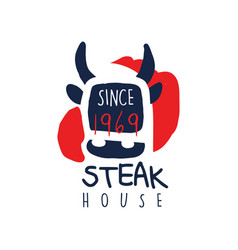 Steak house logo template since 1969 vintage vector