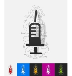 syringe paper sticker with hand drawn elements vector image