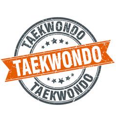 Taekwondo round grunge ribbon stamp vector