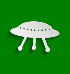 Ufo simple sign paper whitish icon with vector