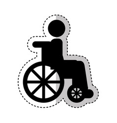 wheelchair with patient icon vector image