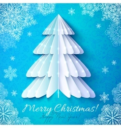 White origami paper christmas tree vector image vector image