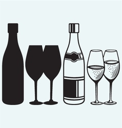 Wineglasses and bottles vector image vector image
