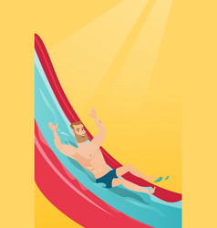 Young caucasian man riding down a waterslide vector