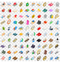 100 advertising icons set isometric 3d style vector image