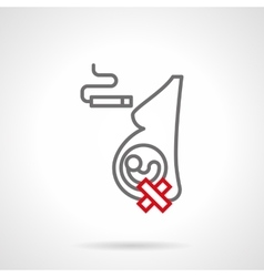 Smoking for pregnant simple line icon vector