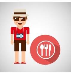 Tourist man with camera and dinner sign vector