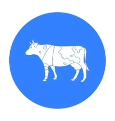 Sick cow with bandage on a leg icon in black style vector