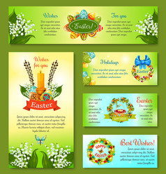 Easter holidays cartoon banner template set vector