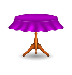 wooden round table with purple tablecloth vector image