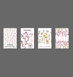 Floral summer journaling cards vector