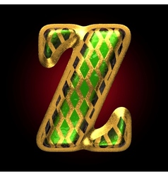 Golden and green letter z vector