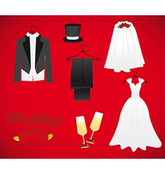 Objects of marriage including wedding dress groom vector