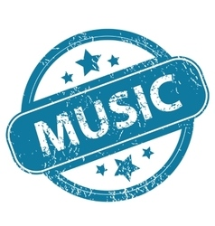 Music round stamp vector