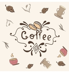 Print with coffee lettering vector