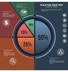Pie chart - business statistics with icons vector