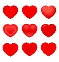 Valentines icons hearts vector