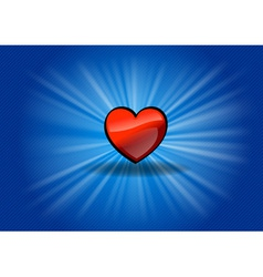 Red heart on the blue background vector