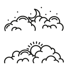 Line clouds icon vector