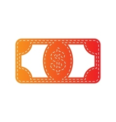 Bank note dollar sign orange applique isolated vector