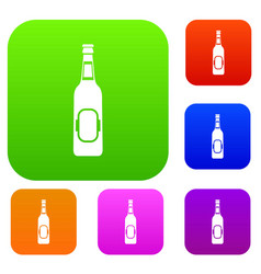 Bottle of beer set collection vector