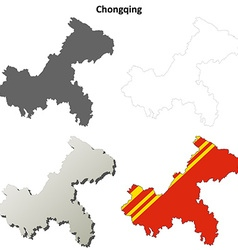 Chongqing blank outline map set vector