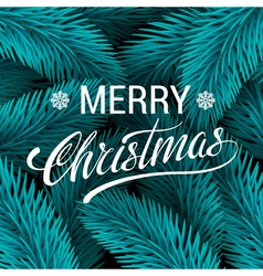 Christmas tree blue fir branches background Merry vector image
