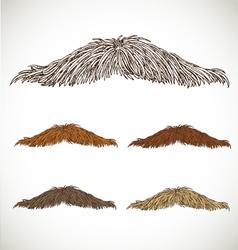 Classic retro thin mustache set vector image
