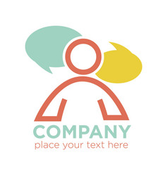 company logo design with person silhouette and two vector image vector image