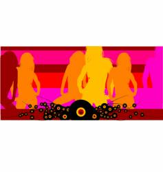 disco club girls background vector image