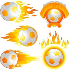 fire soccer emblem vector image vector image