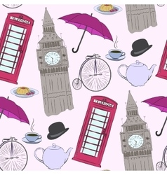 hand drawn London pattern vector image