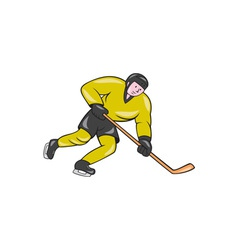 Ice hockey player in action cartoon vector