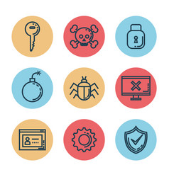 Informatic security set icons vector