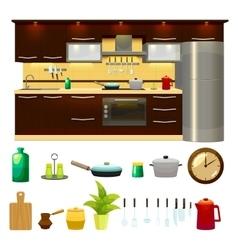 Kitchen interior icon set vector