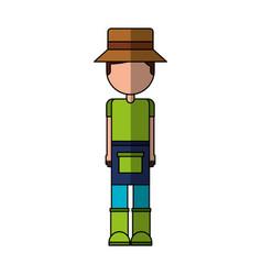 Little gardener character icon vector