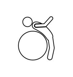 Person do exercise with ball vector