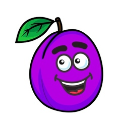 Purple cartoon plum fruit vector