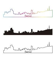 Seoul skyline linear style with rainbow vector