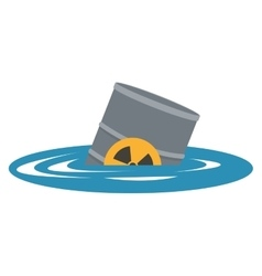 Toxic waste contamination on water icon vector