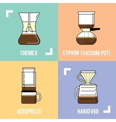Trendy coffee brewing methods Different ways of vector image vector image