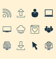 Web icons set collection of down arrow pc vector