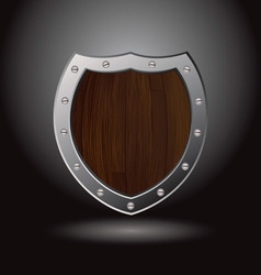 wood shield blank vector image