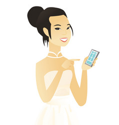 Young asian fiancee holding a mobile phone vector