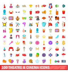 100 theatre and cinema icons set cartoon style vector