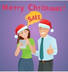 Christmas sales e-commerce concept vector