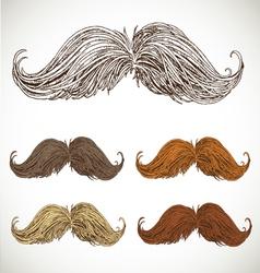 Classic retro twisted mustache set vector image