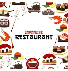 Japanese restaurant poster seafood sushi sashimi vector