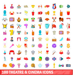100 theatre and cinema icons set cartoon style vector